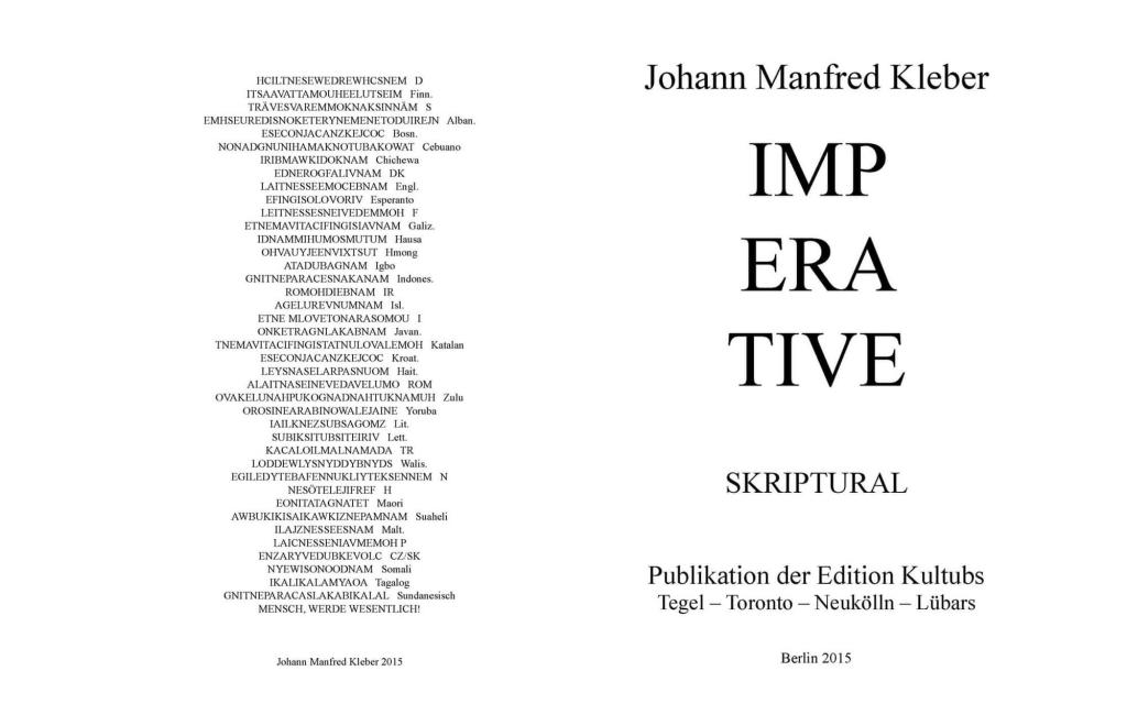 Umschlag: Johann Manfred Kleber - Imperative. Skriptural